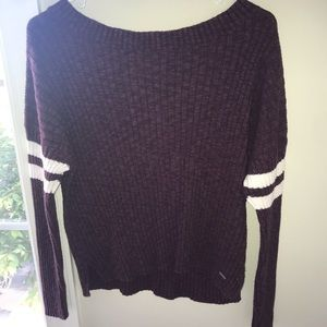 Wide neck eggplant colored sweater